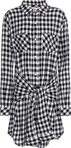 The Twist Check Shirt Dress - style: shirt; neckline: shirt collar/peter pan/zip with opening; pattern: checked/gingham; waist detail: belted waist/tie at waist/drawstring; secondary colour: white; predominant colour: black; occasions: casual; length: just above the knee; fit: body skimming; fibres: cotton - mix; sleeve length: long sleeve; sleeve style: standard; pattern type: fabric; texture group: jersey - stretchy/drapey; multicoloured: multicoloured; season: s/s 2016