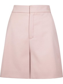Light Pink Wool Shorts - pattern: plain; waist: high rise; predominant colour: pink; occasions: casual, creative work; fibres: wool - mix; pattern type: fabric; texture group: woven light midweight; season: s/s 2016; style: shorts; length: just above the knee; fit: a-line