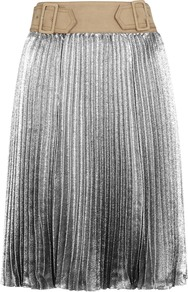 Silver Plissé Lamé Skirt - pattern: plain; fit: body skimming; style: pleated; waist detail: belted waist/tie at waist/drawstring; waist: mid/regular rise; predominant colour: silver; occasions: evening; length: on the knee; fibres: cotton - 100%; texture group: silky - light; pattern type: fabric; season: a/w 2016
