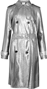 Silver Lamé Trench Coat - pattern: plain; style: cape; length: mid thigh; predominant colour: silver; occasions: casual, creative work; fit: tailored/fitted; fibres: viscose/rayon - stretch; collar: shirt collar/peter pan/zip with opening; waist detail: belted waist/tie at waist/drawstring; sleeve length: long sleeve; sleeve style: standard; texture group: technical outdoor fabrics; collar break: high; pattern type: fabric; pattern size: standard; season: a/w 2016