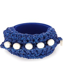Pearl Diver Slap Crochet And Pearl Bracelet - secondary colour: white; predominant colour: royal blue; occasions: casual; style: bangle/standard; size: large/oversized; material: leather; finish: plain; embellishment: beading; season: a/w 2016