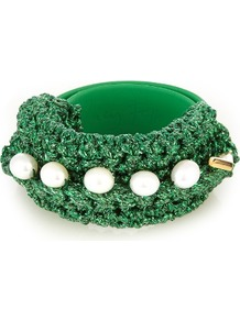 Pearl Diver Slap Crochet And Pearl Bracelet - secondary colour: white; predominant colour: emerald green; occasions: casual, creative work; style: bangle/standard; size: large/oversized; material: fabric/cotton; finish: plain; embellishment: beading; season: a/w 2016