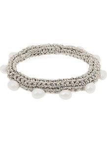 Pearl Diver Crochet And Pearl Bracelet - predominant colour: silver; style: cuff; size: standard; material: fabric/cotton; finish: plain; embellishment: beading; occasions: creative work; season: a/w 2016