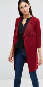 Lightweight Jacket With Tie Waist Wine - pattern: plain; collar: shawl/waterfall; fit: loose; predominant colour: true red; occasions: casual, creative work; fibres: polyester/polyamide - stretch; length: mid thigh; sleeve length: 3/4 length; sleeve style: standard; collar break: low/open; pattern type: fabric; texture group: woven light midweight; style: fluid/kimono; season: a/w 2016