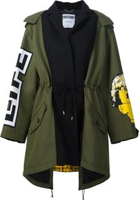 Oversize Patchwork Parka, Women's, Green - collar: funnel; style: parka; length: mid thigh; predominant colour: khaki; occasions: casual, creative work; fit: straight cut (boxy); fibres: cotton - mix; waist detail: belted waist/tie at waist/drawstring; sleeve length: long sleeve; sleeve style: standard; texture group: cotton feel fabrics; collar break: high/illusion of break when open; pattern type: fabric; pattern size: standard; pattern: graphic/slogan; season: a/w 2016