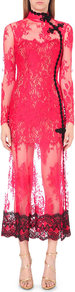 Semi Sheer Floral Lace Gown, Women's, Red - style: shift; neckline: high neck; length: ankle length; predominant colour: hot pink; secondary colour: black; occasions: evening, occasion; fit: soft a-line; fibres: viscose/rayon - stretch; sleeve length: long sleeve; sleeve style: standard; texture group: lace; pattern type: fabric; pattern size: standard; pattern: patterned/print; multicoloured: multicoloured; season: a/w 2016