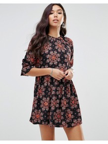 Tea Dress With Blouson Sleeves In Floral Kaleidoscope Multi - style: smock; length: mid thigh; fit: loose; secondary colour: pink; predominant colour: black; occasions: casual; fibres: viscose/rayon - 100%; neckline: crew; sleeve length: 3/4 length; sleeve style: standard; pattern type: fabric; pattern size: big & busy; pattern: florals; texture group: woven light midweight; multicoloured: multicoloured; season: a/w 2016
