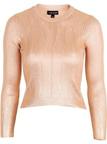 Foil Pointelle Crop Top - pattern: plain; length: cropped; predominant colour: blush; occasions: casual; style: top; fibres: acrylic - mix; fit: body skimming; neckline: crew; sleeve length: long sleeve; sleeve style: standard; pattern type: fabric; texture group: jersey - stretchy/drapey; trends: pretty girl, metallics; season: a/w 2016