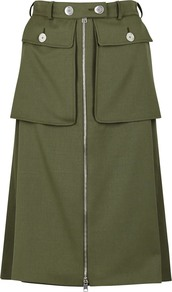 Olive Green Wool Skirt - pattern: plain; fit: loose/voluminous; hip detail: front pockets at hip; waist: high rise; predominant colour: khaki; occasions: casual, creative work; length: on the knee; style: a-line; fibres: wool - 100%; pattern type: fabric; texture group: woven light midweight; season: a/w 2016