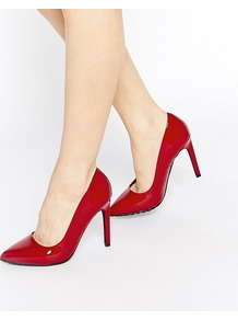 Court Shoes Dark Red Patent Pu - predominant colour: true red; occasions: evening, creative work; material: faux leather; heel height: high; heel: stiletto; toe: pointed toe; style: courts; finish: plain; pattern: plain; season: a/w 2016
