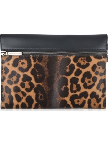 Leopard Zip Clutch Bag - predominant colour: tan; secondary colour: black; occasions: evening; type of pattern: light; style: clutch; length: hand carry; size: small; material: leather; pattern: animal print; finish: plain; season: a/w 2016