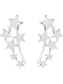 Scatter Star Ear Hooks - predominant colour: silver; occasions: casual, evening, creative work; style: stud; length: short; size: small/fine; material: chain/metal; fastening: pierced; finish: metallic; season: a/w 2016