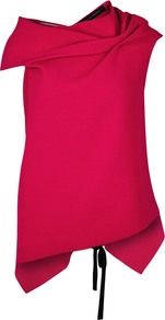 Eugene Fuchsia Open Back Wool Top - neckline: cowl/draped neck; sleeve style: capped; predominant colour: hot pink; secondary colour: black; occasions: evening, creative work; length: standard; style: top; fibres: wool - mix; fit: tailored/fitted; back detail: embellishment at back; sleeve length: short sleeve; pattern type: fabric; pattern size: standard; pattern: colourblock; texture group: woven light midweight; season: a/w 2016