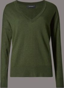 V Neck Jumper With Wool - neckline: low v-neck; pattern: plain; style: standard; predominant colour: khaki; occasions: casual, work, creative work; length: standard; fibres: wool - mix; fit: standard fit; sleeve length: long sleeve; sleeve style: standard; texture group: knits/crochet; pattern type: knitted - fine stitch; season: a/w 2016