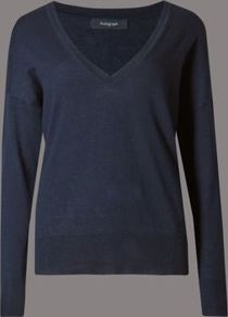 V Neck Jumper With Wool - neckline: low v-neck; pattern: plain; style: standard; predominant colour: navy; occasions: casual, creative work; length: standard; fibres: wool - mix; fit: standard fit; sleeve length: long sleeve; sleeve style: standard; texture group: knits/crochet; pattern type: knitted - fine stitch; pattern size: standard; season: a/w 2016