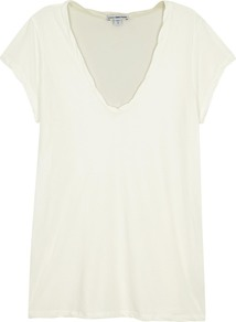 Off White Cotton T Shirt - neckline: v-neck; pattern: plain; style: t-shirt; predominant colour: white; occasions: casual; length: standard; fibres: cotton - 100%; fit: body skimming; sleeve length: short sleeve; sleeve style: standard; texture group: cotton feel fabrics; pattern type: fabric; season: a/w 2016