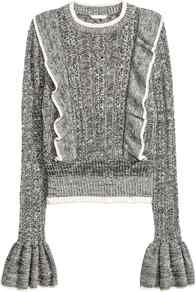 Jumper With Frills - neckline: round neck; sleeve style: bell sleeve; pattern: plain; style: standard; predominant colour: mid grey; occasions: casual, creative work; length: standard; fibres: cotton - mix; fit: standard fit; sleeve length: long sleeve; texture group: knits/crochet; pattern type: knitted - fine stitch; season: a/w 2016