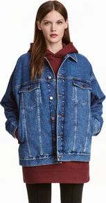 Oversized Denim Jacket - pattern: plain; fit: loose; style: denim; predominant colour: denim; occasions: casual, creative work; length: standard; fibres: cotton - 100%; collar: shirt collar/peter pan/zip with opening; sleeve length: long sleeve; sleeve style: standard; texture group: denim; collar break: high; pattern type: fabric; season: a/w 2016