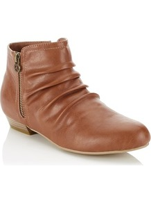 Side Zip Detail Ankle Boots - predominant colour: tan; occasions: casual; material: faux leather; heel height: flat; heel: standard; toe: round toe; boot length: ankle boot; style: standard; finish: plain; pattern: plain; season: a/w 2016