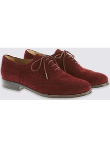 Suede Lace Up Brogue Shoes - predominant colour: burgundy; occasions: work, creative work; material: suede; heel height: flat; toe: round toe; style: brogues; finish: plain; pattern: plain; season: a/w 2016