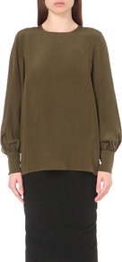 Lia Silk Top, Women's, Green - pattern: plain; length: below the bottom; style: blouse; predominant colour: khaki; occasions: evening; fibres: silk - 100%; fit: body skimming; neckline: crew; sleeve length: long sleeve; sleeve style: standard; texture group: silky - light; pattern type: fabric; season: a/w 2016