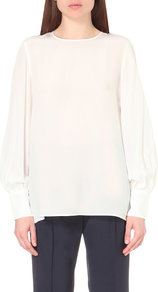 Lia Silk Top, Women's, White - pattern: plain; length: below the bottom; style: blouse; predominant colour: white; occasions: evening; fibres: silk - 100%; fit: body skimming; neckline: crew; sleeve length: long sleeve; sleeve style: standard; texture group: silky - light; pattern type: fabric; season: a/w 2016