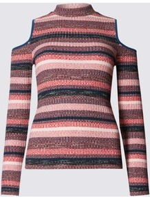 Cold Shoulder Jersey Top - pattern: horizontal stripes; neckline: high neck; style: t-shirt; predominant colour: pink; secondary colour: navy; occasions: casual; length: standard; fibres: cotton - mix; fit: body skimming; shoulder detail: cut out shoulder; sleeve length: long sleeve; sleeve style: standard; texture group: jersey - clingy; pattern type: knitted - fine stitch; season: a/w 2016