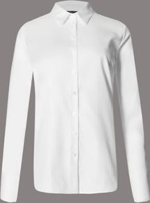 Pure Cotton Long Sleeve Shirt - neckline: shirt collar/peter pan/zip with opening; pattern: plain; style: shirt; predominant colour: white; occasions: work; length: standard; fibres: cotton - 100%; fit: body skimming; sleeve length: long sleeve; sleeve style: standard; texture group: cotton feel fabrics; pattern type: fabric; season: a/w 2016