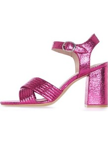 Radiant Metallic Sandals - predominant colour: hot pink; occasions: evening, occasion; material: faux leather; heel height: high; embellishment: glitter; ankle detail: ankle strap; heel: block; toe: open toe/peeptoe; style: strappy; finish: metallic; pattern: plain; season: a/w 2016; trends: metallics