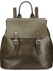 Hurst Leather Backpack, Olive - predominant colour: khaki; occasions: casual, creative work; type of pattern: standard; style: rucksack; length: rucksack; size: standard; material: leather; pattern: plain; finish: plain; season: a/w 2016