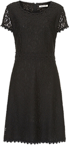 Lace Shift Dress, Black - style: shift; neckline: round neck; fit: tailored/fitted; predominant colour: black; occasions: evening, occasion; length: on the knee; fibres: polyester/polyamide - 100%; sleeve length: short sleeve; sleeve style: standard; texture group: lace; pattern type: fabric; pattern: patterned/print; season: a/w 2016