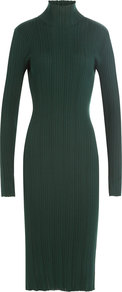 Wool Silk Turtleneck Dress Green - style: jumper dress; length: calf length; pattern: plain; neckline: roll neck; predominant colour: dark green; occasions: evening; fit: body skimming; fibres: wool - mix; sleeve length: long sleeve; sleeve style: standard; pattern type: fabric; texture group: other - light to midweight; season: a/w 2016