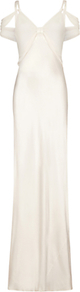 Sana Dress, Ivory - neckline: low v-neck; pattern: plain; sleeve style: sleeveless; style: maxi dress; predominant colour: ivory/cream; occasions: evening; length: floor length; fit: body skimming; fibres: silk - mix; sleeve length: sleeveless; texture group: silky - light; pattern type: fabric; season: a/w 2016