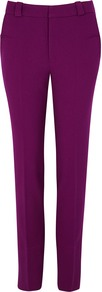 Lacerta Purple Slim Leg Trousers - length: standard; pattern: plain; waist: mid/regular rise; predominant colour: purple; occasions: casual, creative work; fibres: polyester/polyamide - stretch; fit: slim leg; pattern type: fabric; texture group: woven light midweight; style: standard; season: a/w 2016