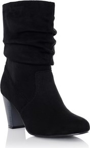 Medium Heeled Boots - predominant colour: black; occasions: casual; material: suede; heel height: mid; heel: block; toe: round toe; boot length: mid calf; style: standard; finish: plain; pattern: plain; season: a/w 2016