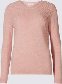 Pretty Link Long Sleeve Jumper - pattern: plain; style: standard; predominant colour: blush; occasions: casual; length: standard; fibres: cotton - mix; fit: slim fit; neckline: crew; sleeve length: long sleeve; sleeve style: standard; texture group: knits/crochet; pattern type: fabric; season: a/w 2016
