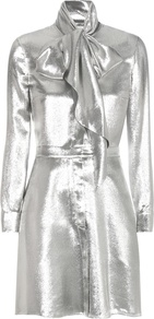 Metallic Silk Blend Dress - style: shift; length: mid thigh; pattern: plain; neckline: pussy bow; predominant colour: silver; occasions: evening, occasion; fit: body skimming; fibres: silk - mix; sleeve length: long sleeve; sleeve style: standard; texture group: silky - light; pattern type: fabric; season: a/w 2016