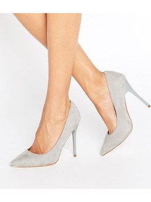 Point Toe Court Shoe Grey - predominant colour: light grey; occasions: evening; material: fabric; heel: stiletto; toe: pointed toe; style: courts; finish: plain; pattern: plain; heel height: very high; season: a/w 2016