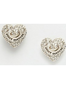 Pave Heart Stud Earrings Gold - predominant colour: silver; occasions: evening, occasion; style: stud; length: short; size: small/fine; material: chain/metal; fastening: pierced; finish: metallic; embellishment: crystals/glass; season: a/w 2016