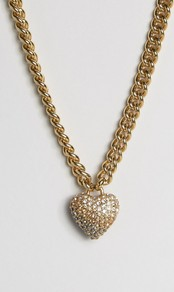 Champagne Ombre Heart & Chain Necklace Champagne - predominant colour: gold; occasions: evening, occasion; style: pendant; length: mid; size: large/oversized; material: chain/metal; finish: metallic; season: a/w 2016