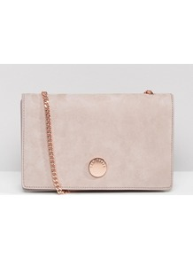 Suede Foldover Cross Body Bag Mid Purple - predominant colour: blush; occasions: casual, creative work; type of pattern: standard; style: shoulder; length: across body/long; size: standard; material: suede; pattern: plain; finish: plain; embellishment: chain/metal; season: a/w 2016
