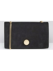 Suede Foldover Cross Body Bag Black - secondary colour: gold; predominant colour: black; occasions: casual, evening, creative work; type of pattern: standard; style: shoulder; length: across body/long; size: standard; material: suede; pattern: plain; finish: plain; embellishment: chain/metal; season: a/w 2016