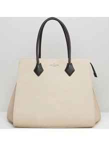 Pauls Boutique Coco Structured Tote In Nude Nude - predominant colour: ivory/cream; secondary colour: black; occasions: casual, creative work; type of pattern: standard; style: tote; length: handle; size: standard; material: faux leather; pattern: plain; finish: plain; season: a/w 2016