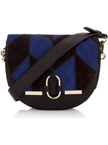 Patchwork Saddle Bag - secondary colour: royal blue; predominant colour: black; occasions: casual; type of pattern: standard; style: saddle; length: across body/long; size: small; material: fabric; finish: plain; pattern: patterned/print; multicoloured: multicoloured; season: a/w 2016
