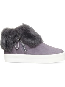 Lille Foldover Cuff Suede Trainers, Women's, Eur 36 / 3 Uk Women, Grey - secondary colour: white; predominant colour: mid grey; occasions: casual; material: suede; heel height: flat; toe: round toe; style: trainers; finish: plain; pattern: plain; shoe detail: moulded soul; multicoloured: multicoloured; season: a/w 2016