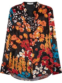 Belle Floral Devoré Blouse - neckline: shirt collar/peter pan/zip with opening; style: shirt; secondary colour: bright orange; predominant colour: black; occasions: evening; length: standard; fit: body skimming; sleeve length: long sleeve; sleeve style: standard; texture group: silky - light; pattern type: fabric; pattern: florals; fibres: viscose/rayon - mix; pattern size: big & busy (top); multicoloured: multicoloured; season: a/w 2016