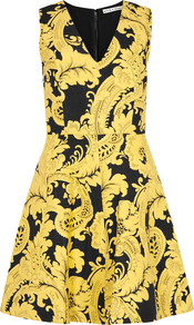 Nicolette Yellow Jacquard Mini Dress - neckline: v-neck; sleeve style: sleeveless; predominant colour: yellow; secondary colour: black; occasions: evening; length: just above the knee; fit: fitted at waist & bust; style: fit & flare; fibres: acrylic - mix; sleeve length: sleeveless; pattern type: fabric; pattern: patterned/print; texture group: brocade/jacquard; multicoloured: multicoloured; season: a/w 2016