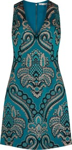 Natalee Turquoise Jacquard Mini Dress - style: shift; length: mini; neckline: v-neck; fit: tailored/fitted; sleeve style: sleeveless; predominant colour: teal; secondary colour: stone; occasions: evening, occasion; fibres: polyester/polyamide - 100%; sleeve length: sleeveless; pattern type: fabric; pattern: patterned/print; texture group: brocade/jacquard; multicoloured: multicoloured; season: a/w 2016