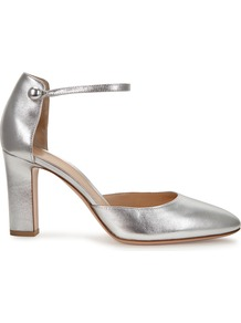 Silver Leather Pumps - predominant colour: silver; occasions: evening; material: leather; heel height: high; ankle detail: ankle strap; heel: block; toe: round toe; style: mary janes; finish: metallic; pattern: plain; season: a/w 2016