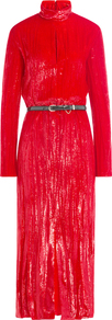 Lamé Velvet Dress Red - style: shift; length: calf length; fit: fitted at waist; pattern: plain; neckline: high neck; waist detail: belted waist/tie at waist/drawstring; predominant colour: true red; occasions: evening; fibres: viscose/rayon - 100%; sleeve length: long sleeve; sleeve style: standard; pattern type: fabric; texture group: velvet/fabrics with pile; season: a/w 2016